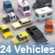 24 Low Poly Vehicles - 3DOcean Item for Sale