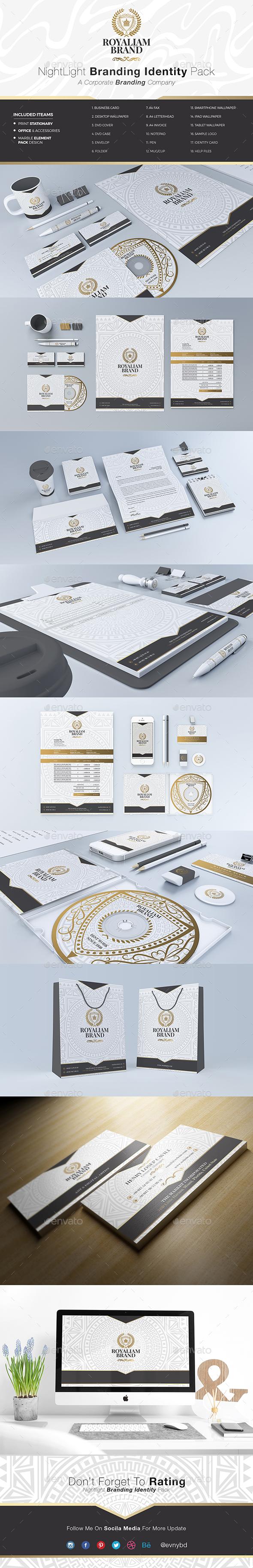 Nightlight Elegant Branding Identity - Stationery Print Templates