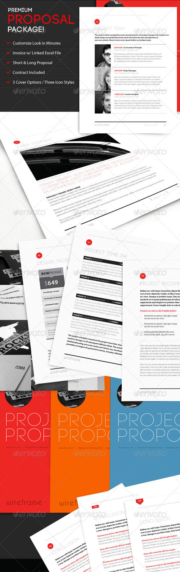 Project Proposal Template Bundle w/ Invoice & Contract - Proposals & Invoices Stationery