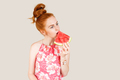 Joyful young woman holding slice of watermelon - PhotoDune Item for Sale