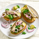 Sandwiches with sprats, marinated cucumber and onion - PhotoDune Item for Sale
