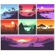 Sunset Vector Sunrise with Hawaii Palms or - GraphicRiver Item for Sale