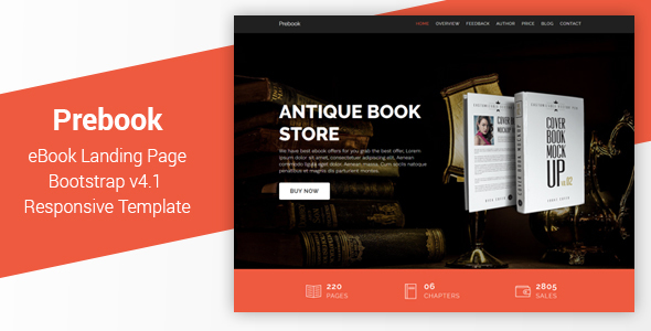 Prebook - eBook Landing Page Responsive Bootstrap 4 Template by Muse-Master