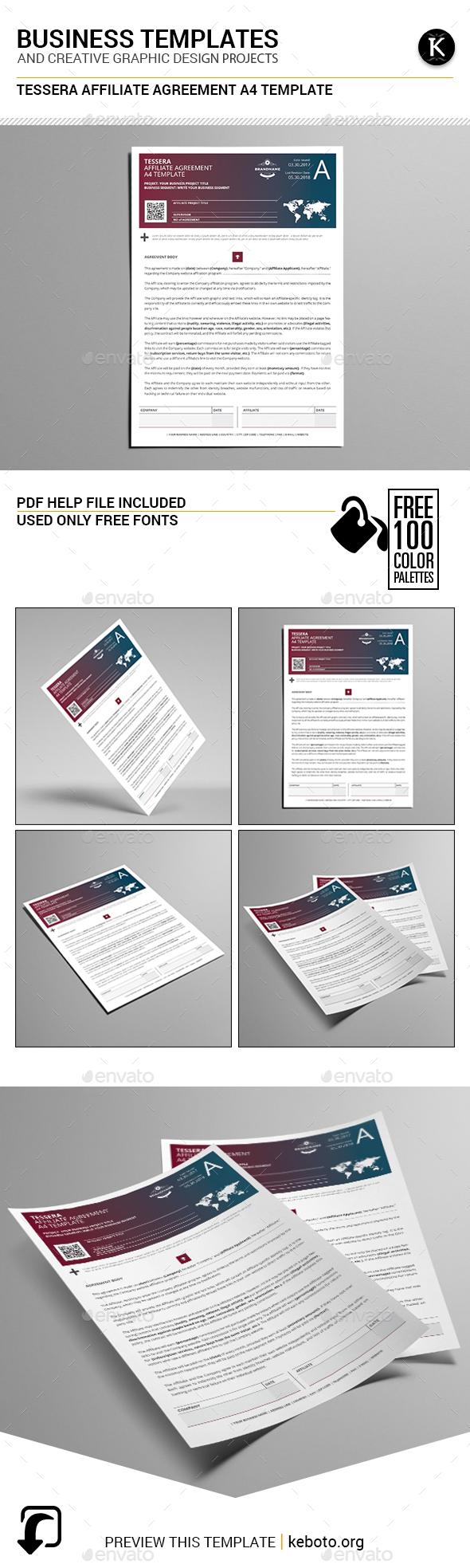 Tessera Affiliate Agreement A4 Template - Miscellaneous Print Templates