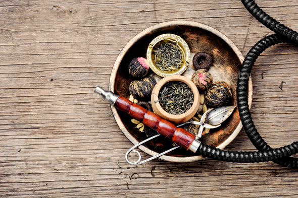 Hookah with aroma tea - Stock Photo - Images