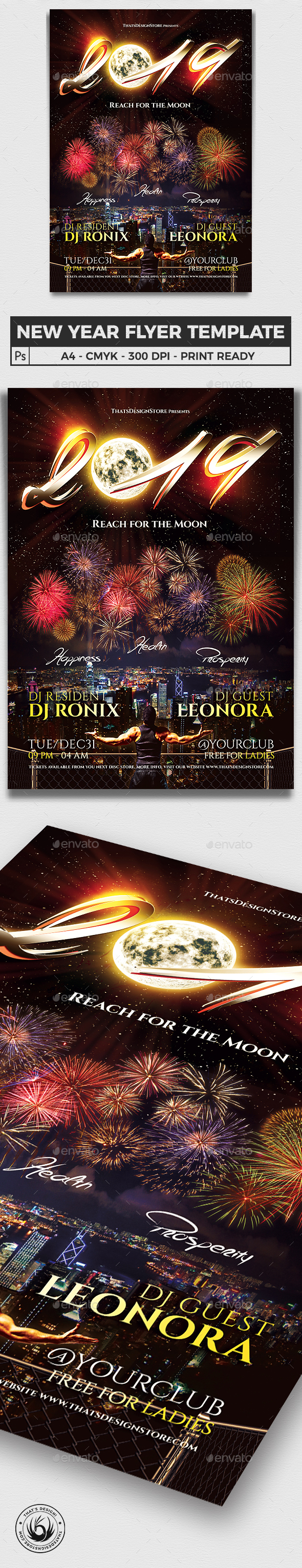 New Year Flyer Template V1 - Clubs & Parties Events