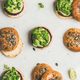 Healthy burgers with beetroot patties and green sprouts, top view - PhotoDune Item for Sale