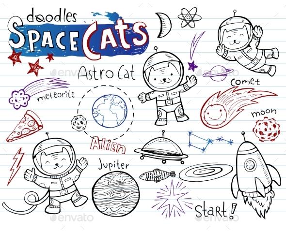 Space Cats - Doodles Collection - Miscellaneous Vectors