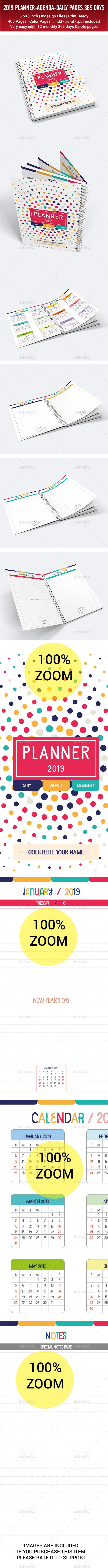Daily Planner Agenda 2019 365 Days 1 Year - Stationery Print Templates