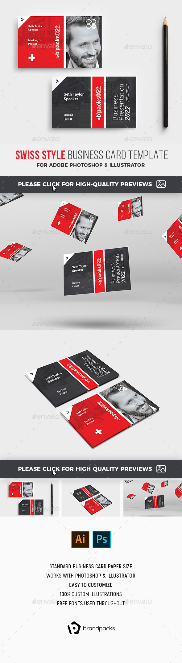 Swiss Style Corporate Business Card - Corporate Business Cards