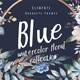 Blue - Watercolor Dark Floral Collection - GraphicRiver Item for Sale