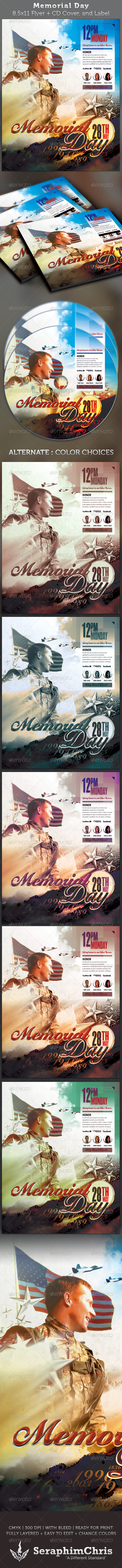 Memorial Day Full Page Flyer and CD Cover - Church Flyers