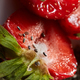 Close up of half of red ripe strawberry with seeds as a background - PhotoDune Item for Sale