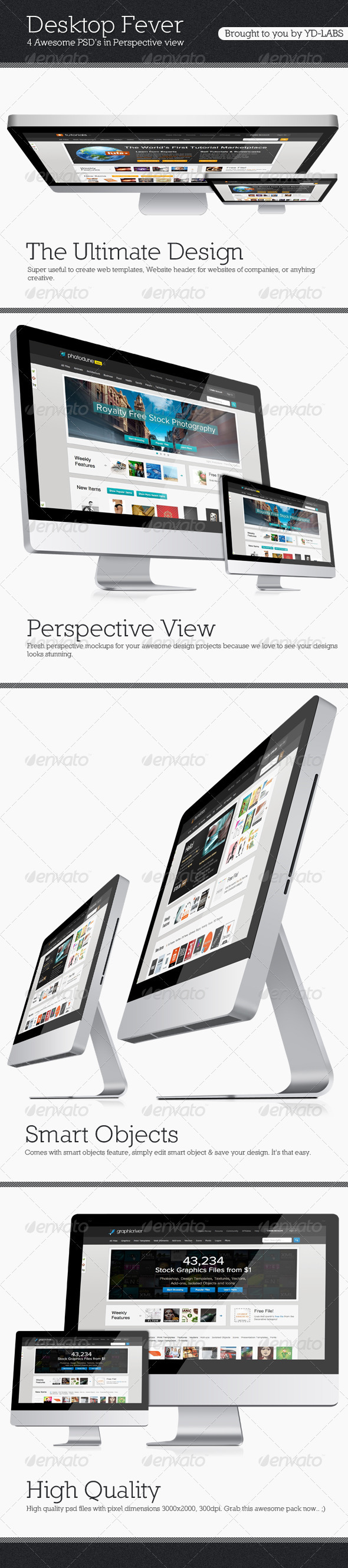 Desktop Fever Mockup Pack - Monitors Displays