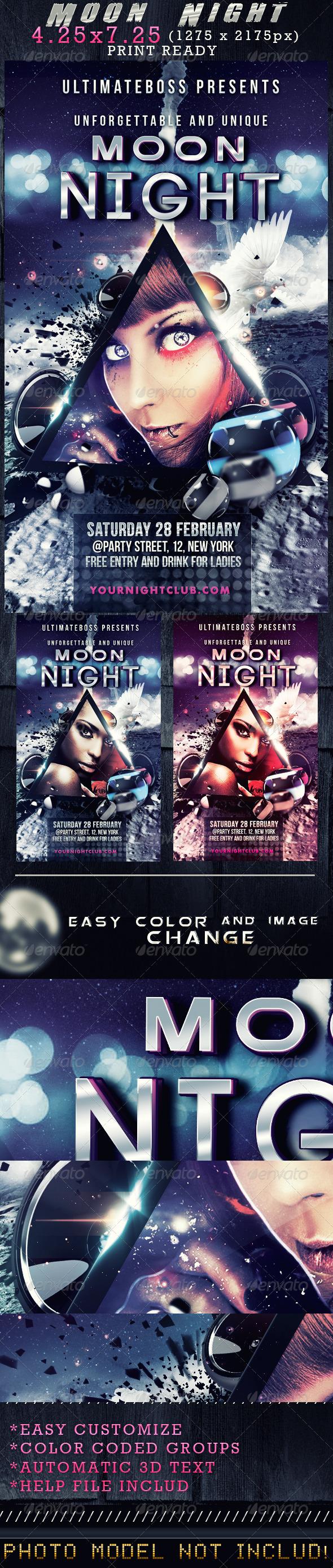 Moon Night Flyer - Flyers Print Templates