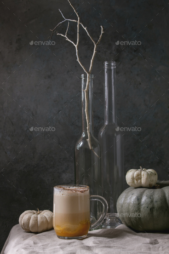 Glass of pumpkin spice latte - Stock Photo - Images
