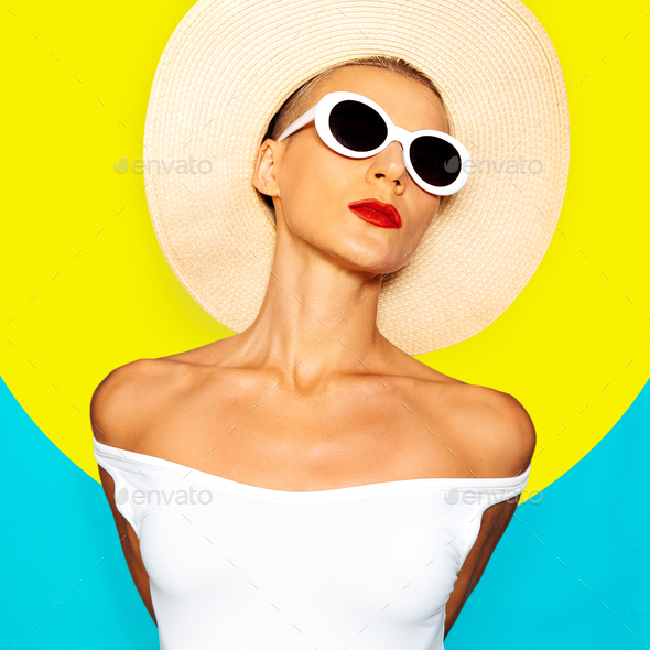 Sensual Lady in beach accessories. Minimal Geometry and Stylish - Stock Photo - Images