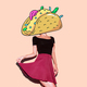 Contemporary art  collage. Lady Tacos. Funny Fast food minimal p - PhotoDune Item for Sale
