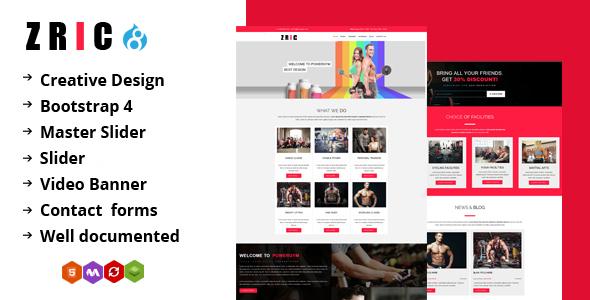 Zric - Fitness Multipages Drupal 8 Theme - Corporate Drupal