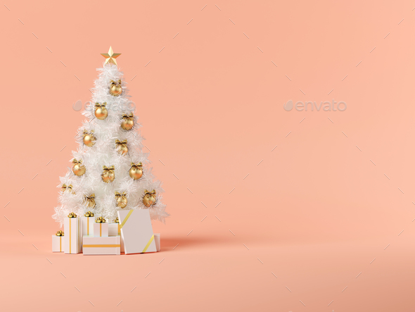 White Christmas Background.White Christmas Tree On Pink Background 3d Illustration