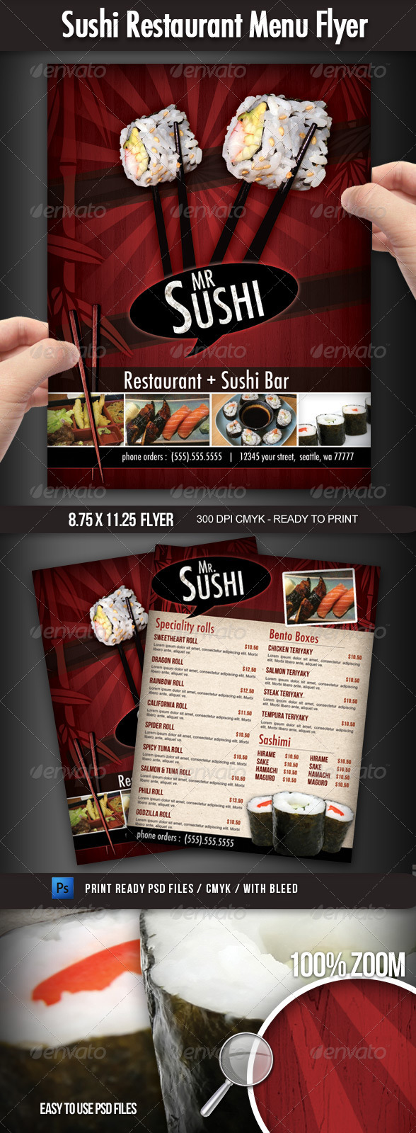 Sushi Restaurant Menu Flyer - Flyers Print Templates