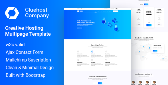 ClueHost - Creative Hosting Multipage HTML5 Template