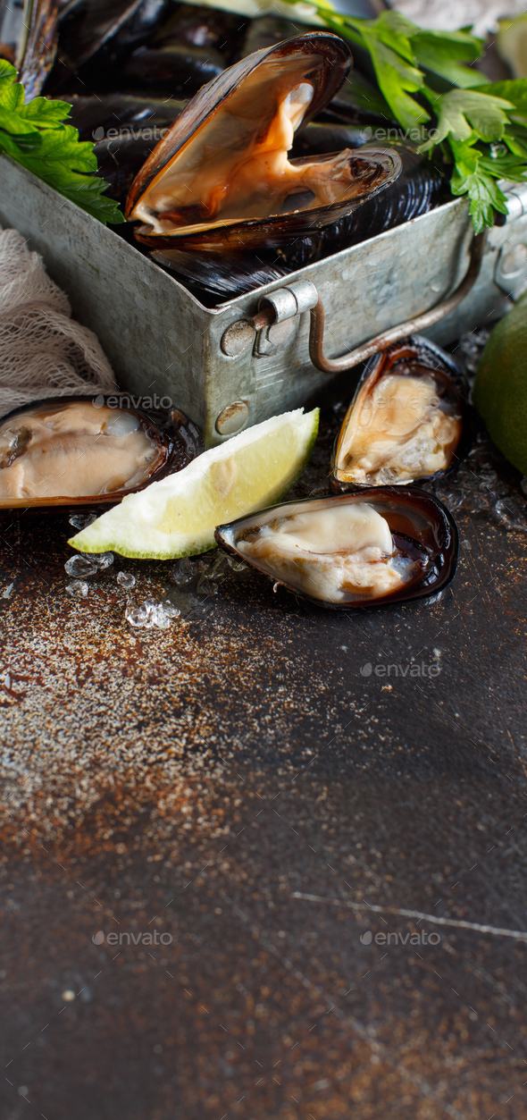 Fresh uncooked  mussels - Stock Photo - Images