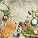 Cooking salted salmon fish with herbs and salts, copy space - PhotoDune Item for Sale