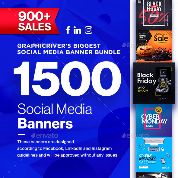 1500 Facebook & Instagram Ad Banners - Black Friday, Cyber Monday Update - Social Media Web Elements