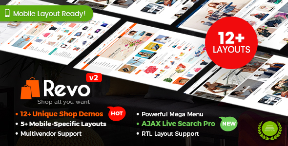 Revo - Multi-purpose WooCommerce WordPress Theme (12+ Homepages & 5 Mobile Layouts Included)