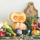 Fall seasonal vegetarian food ingredients variety, copy space, wide composition - PhotoDune Item for Sale