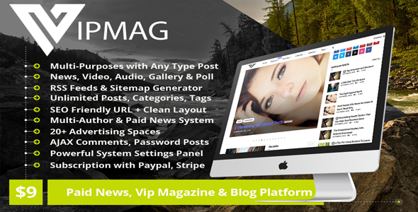 VipMag – Powerful News Script, VIP Blog Software & Magazine Platform with Subscription            Nulled