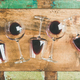 Red wine in glasses over rustic wooden tray background - PhotoDune Item for Sale