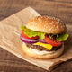 Fresh burger on wooden table - PhotoDune Item for Sale