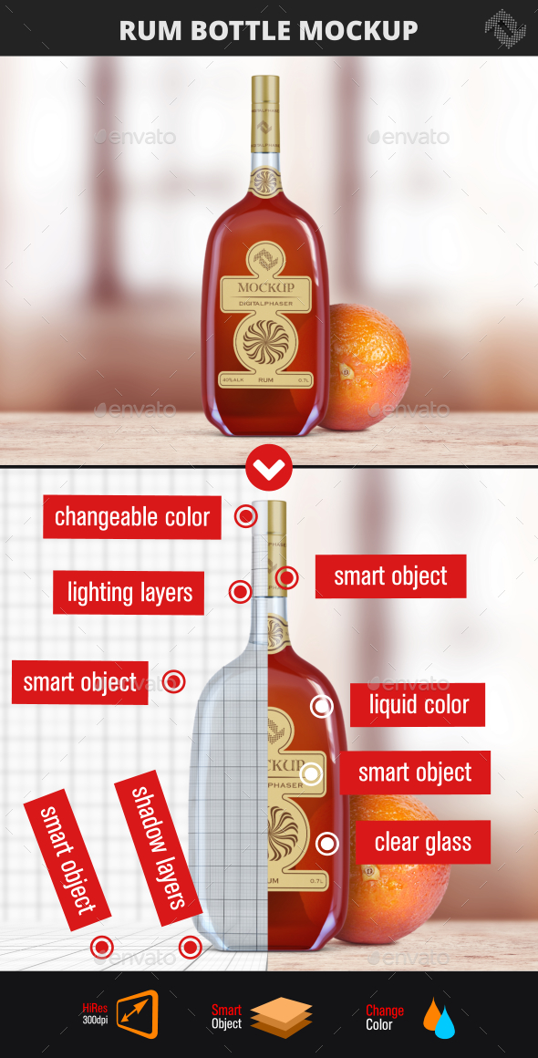 Rum Bottle Mock Up - Food and Drink Packaging