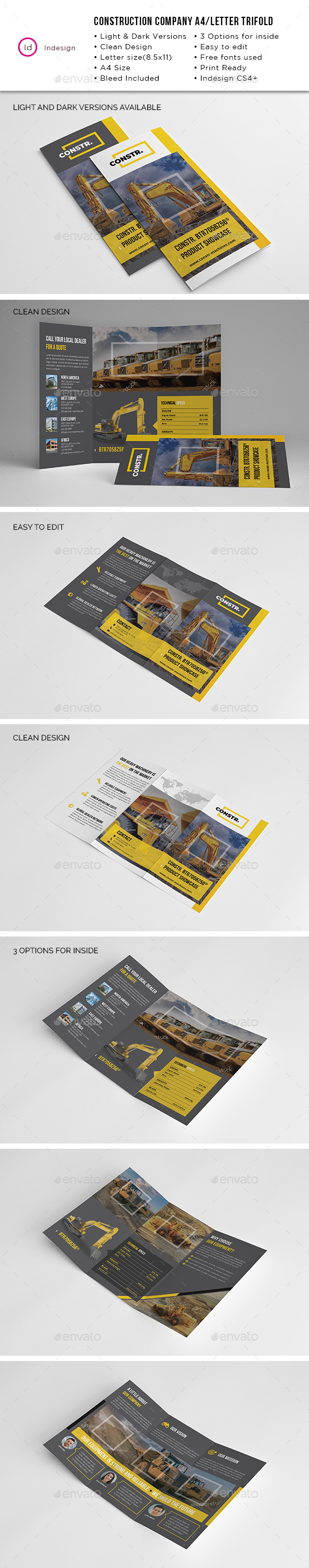 Construction Company A4/Letter Trifold - Industry Specific Business Cards