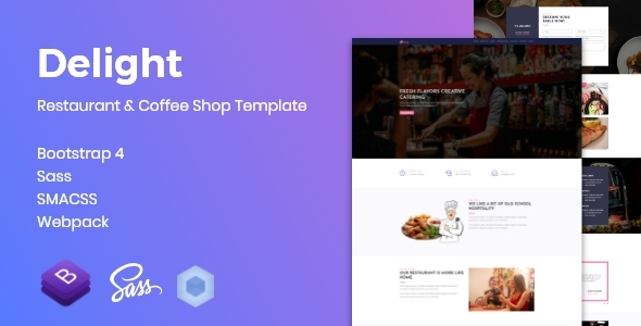 Delight - Restaurant & Coffee Shop Template Free Download   Nulled