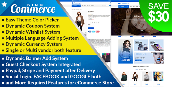 KingCommerce - All in One Single/Multi Vendor eCommerce Business Management System Free Download | Nulled