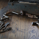 Antique tools and toolbox on dark wood surface - PhotoDune Item for Sale