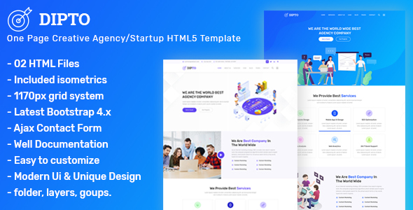 DIPTO - One Page Digital Agency/ Startup HTML5 Template Free Download | Nulled