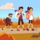 Happy Family Hikers. Dad, Mom and Son Trekking - GraphicRiver Item for Sale