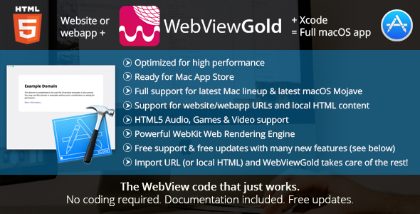 WebViewGold for Mac – WebView URL/HTML to macOS app – ready for Mac App Store & much more!            Nulled