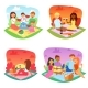Picnic Vector People Happy Family Friends Lovely - GraphicRiver Item for Sale