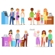 Queue Vector People Waiting Line Queuing in Long - GraphicRiver Item for Sale