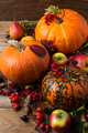 Fall rustic decor with three orange pumpkins - PhotoDune Item for Sale