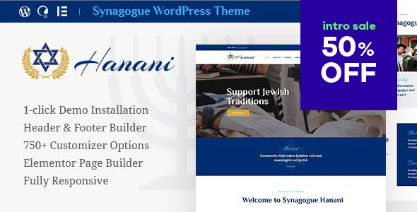 Hanani | Jewish Community & Synagogue WordPress Theme Free Download | Nulled