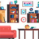 Set Living Room Interior Furniture Collection - GraphicRiver Item for Sale