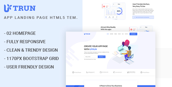 UTRUN - Software, App Landing page HTML5 Template Free Download | Nulled