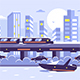 Subway Train Monorail Over Sunset Cityscape - GraphicRiver Item for Sale