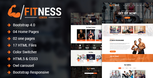 Fitness Center – Gym, Yoga & Personal Trainer HTML Template